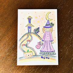 色鉛筆/イラスト/ハロウィン/インテリア/ハンドメイド 画用紙に色鉛筆で作成致しました  色鉛筆…