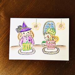 色鉛筆/イラスト/ハロウィン/インテリア/ハンドメイド 画用紙に色鉛筆とクーピーペンシルで描きま…