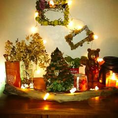 キャンドル/Christmasディスプレイ/シューズボックス上/ディスプレイ/玄関/ハンドメイド 去年木のタイルの破片で 作ったクリスマス…