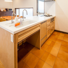 キッチン/人工大理石/メープル/愛知/名古屋 お部屋全体が見渡せるキッチンです。