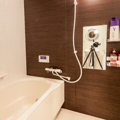 お風呂/茶色/愛知/名古屋 茶色の壁がアクセントになっています。