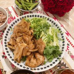 アワサカ 日本製 POTTERY FIELDII ポタリーフィールドII ケーキ皿セット 7-1912|b03(皿)を使ったクチコミ「家族がお祝いしてくれた時の 薔薇の花束が…」(1枚目)
