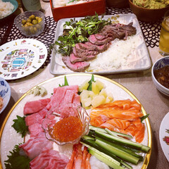 料理/ローストビーフ/手巻き寿司/ホームパーティー/家飲み/新年会/... 新年会に手巻き寿司パーティした時のです …