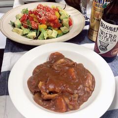 ビール/サラダ/夜ごはん/カレー/フォロー大歓迎/おうち/... カレーのリクエストを受けて作りました🍛 …
