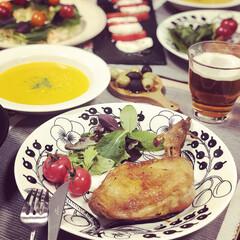 BRUNO マルチスレート ロング 幅40×奥行13×高さ0.6cm)   IDEA INTERNATIONAL(皿)を使ったクチコミ「クリスマスはお家でパーティでした🎄 ロー…」(1枚目)