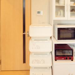 キッチン/白/ゴミ箱/収納/ゴミ分別/分別ゴミ/... 住んでる地域の分別が細かすぎて、引っ越し…