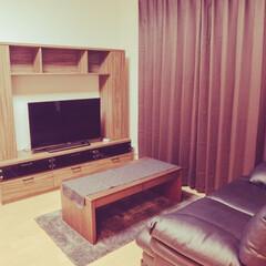 初投稿/IKEA/ソファ/ニトリ/モダン/茶色/... 茶色と黒と白でシンプルな部屋を目指してい…