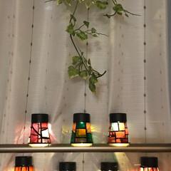 フェイクグリーン/インテリア/プラスチックカップ/ガラス絵の具/ソーラーライト/ダイソー/... ✨ステンドグラス 風ソーラーライト②✨ …