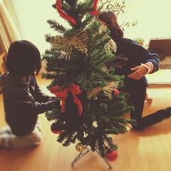 なかよし/姉妹/クリスマスツリー/フォロー大歓迎 子供達も大きくなってきて、今年は子供達だ…