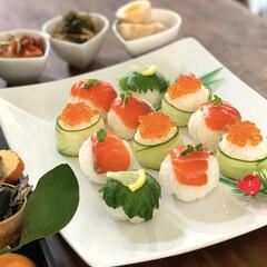 おうちごはん/おうちカフェ/寿司/手まり寿司/暮らし おうちで手まり寿司。 お正月のもの。手ま…