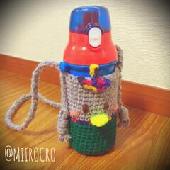 保育園グッズ/幼稚園グッズ/水筒ショルダー/水筒ホルダー/水筒カバー/ボトルケース/... 子供用のプラスチック製水筒💛 保温性はあ…