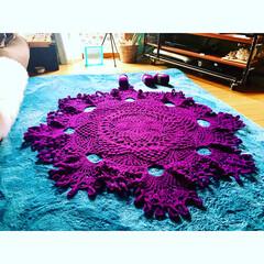 ハンドメイド/毛糸/編み物/かぎ針編み/巨大/ドイリー/... やったよーー!出来たァ 巨大な物体(笑)…