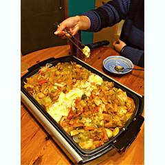 夜ご飯/料理/チーズ/ダッカルビ/韓国/鶏もも肉/... 夜ご飯はずっと食べたかった ダッカルビ〜…