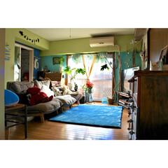 リクライニングソファ/セルフリノベーション/流木/海を感じるインテリア/海外インテリア/ニトリのカーテン/... 朝と反対側からのアングル ダイニングの椅…
