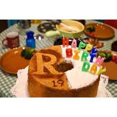 ケーキ手作り/シフォンケーキ/誕生日ケーキ 本日娘のbirthday 本人の希望によ…