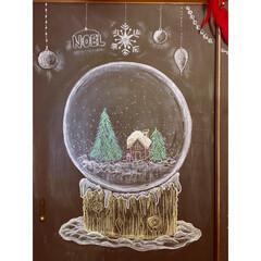 カフェ風/スノードーム/クリスマス/手描き/モカクリーム/イマジンチョークボードペイント/... ダイニングテーブル横 黒板アートの続き …