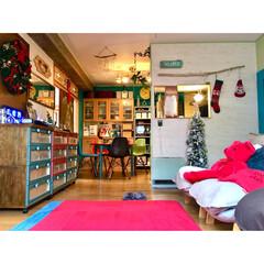覗き窓を作る/間仕切り壁DIY/セルフリノベーション/クリスマス/リフォーム/DIY/... あちこちに点在する 差し色の赤  ラグを…
