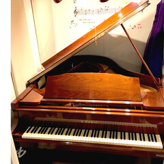 防音室/茶色いピアノ/ピアノ/グランドピアノ/KAWAI/マンション 我が家のグランドピアノ KAWAI ウォ…