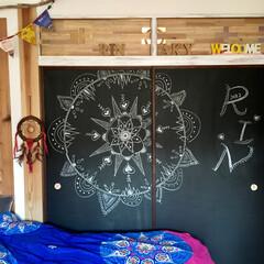 子供部屋/カレンダー/チャイハネ/チョーク/黒板/黒板アート/... 娘の部屋 黒板アートを描き変えました セ…
