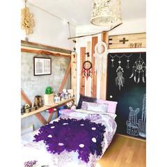棚自作/黒板/ドリームキャッチャー/編み物/かぎ針編み/毛糸/... セルフリノベーションした 娘の部屋  こ…