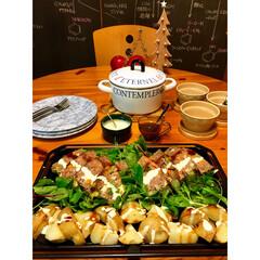 ダイニングテーブル/ホーロー鍋/夜ご飯/ミートローフ/料理/黒板/... イブまであと10日 その週は子供の誕生日…