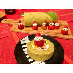 カッティングボード/フランフラン/ランチョンマット/テーブルクロス/赤/いちご/... 2017年クリスマス 抹茶のロールケーキ…