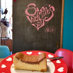 手作りケーキ/バレンタイン/インテリア/フード/チーズケーキ/黒板アート/... Happy Valentine's Da…