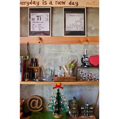 棚DIY/セルフリノベーション/子供部屋/実験道具/クリスマスツリー/分子構造模型/... 理系インテリア+Xmas  娘の部屋★自…