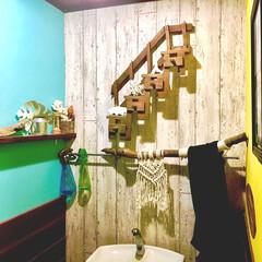 プラスハート/ドリームクッションパネル/山善 モニター品/海を感じるインテリア/珊瑚/流木/... 久しぶりにトイレに新入りさん  先日作っ…