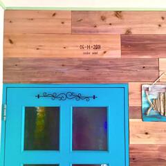 マンション/流木/アイアン/ターコイズの輝き/ターコイズブルーのドア/杉板/... 1枚前の写真でやってた ウッドバーニング…