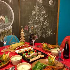 赤/カフェ風/セルフリノベーション/黒板アート/ターコイズブルー/ランチョンマット/... 2017年クリスマスディナー   アップ…