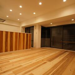 無垢材/木材/ナチュラル キッチン全面に無垢材を