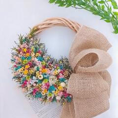 小花リース/カラフル/フラワーアレンジメント/minneにて販売中/フラワーギフト/フラワーインテリア/... 小花のカラフルリース