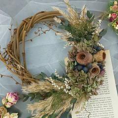 インテリア雑貨/ハンドメイド雑貨/花が好き/花と緑がある暮らし/花がある暮らし/リース/... ドライフラワーリース♡