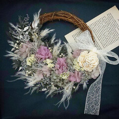 フラワーインテリア/花が好き/花のある暮らし/ギフトフラワー/フラワーギフト/ハンドメイド/... プリザーブドフラワーリース♪