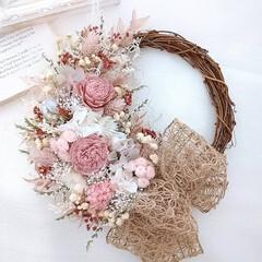Flower/minneで販売中/フラワーギフト/ぴんく/ピンク/花が好き/... 今日のリース😊(1枚目)