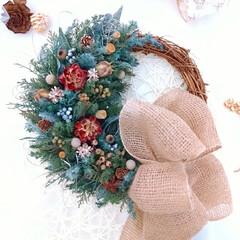 木の実/プリザーブドフラワー/クリスマスインテリア/Christmas/Xmas/グリーンのある暮らし/... 木の実リース♪