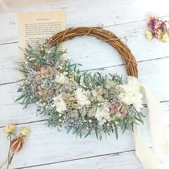 お祝いギフト/母の日ギフト/花を飾る/花がある暮らし/リース/ドライフラワー/... プリザーブドフラワーリース