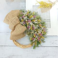 ハンドメイド雑貨/インテリア雑貨/花が好き/花のある生活/ドライフラワーのある暮らし/ドライフラワー/... オーダー品のドライフラワーリース♪