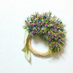 花のある暮らし/小さい花/ドライフラワー/ドライフラワーのある暮らし/小花/リース/... ドライフラワーリース