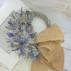 インテリア雑貨/ハンドメイド/花が好き/花を飾る/花がある暮らし/プリザーブドフラワーとドライフラワー/... プリザーブドフラワーのパープルリース♪