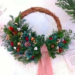 Handmade/Christmas/Xmas/フラワーアレンジ/木の実のリース/木の実/... クリスマスリース♪  小さな木の実を沢山…(1枚目)