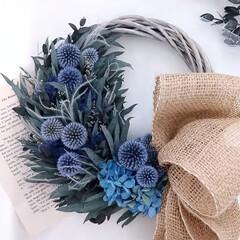 瑠璃玉アザミ/花を飾る/花のある暮らし/インテリア雑貨/ハンドメイド作家/リース/... オーダー品リース