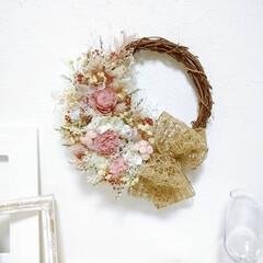 Flower/minneで販売中/フラワーギフト/ぴんく/ピンク/花が好き/... 今日のリース😊(2枚目)