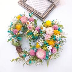 ドライフラワーアレンジ/花を飾る/花で元気に/フラワーインテリア/花が好きな人と繋がりたい/花のある暮らし/... ドライフラワーのハートリース♡(1枚目)