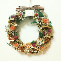 Flower/Handmade/秋カラー/リース/インテリア雑貨/プリザーブドフラワー/... フラワーリース♪