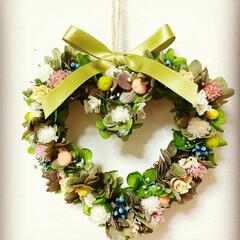 玄関に春を/飾り/ハンドメイド雑貨/お祝い/プレゼント/緑のある暮らし/... 小花でハートリース♡