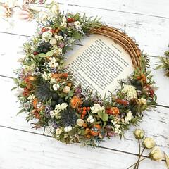 ドライフラワー/花が好き/花のある暮らし/花雑貨/ハンドメイド雑貨/インテリア雑貨/... 花材たっぷりのドライフラワーリース♡
