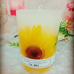 黄色/大きなお花/癒しグッズ/アロマ/アロマキャンドル/お花/... ボタニカルキャンドル♡