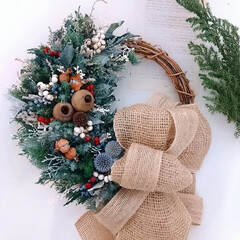 Christmas/インテリア雑貨/ドライフラワー/プリザーブドフラワー/リース/ハンドメイド雑貨/... クリスマスリース♪